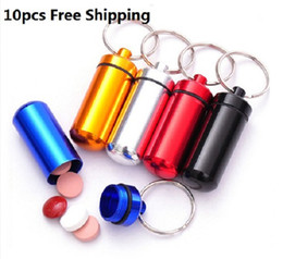 Wholesale Waterproof Promotion Case - Waterproof Aluminum Pill Box Case Bottle Holder Container Keychain Key Chain Key Ring New 10PCS Pill Users Must Mixed Color
