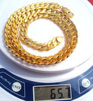 Wholesale Plants Sand - 24K Solid Gold two-sided sequence sand Cuban Link Chain Necklace 23.6inch 100% real gold, not solid not money.