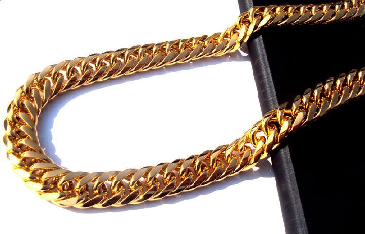 FREE SHIPPING Heavy MENS 24K REAL SOLID GOLD FINISH THICK MIAMI CUBAN LINK NECKLACE CHAIN