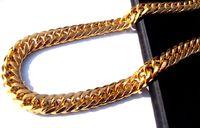 correntes de laço de ouro para homens venda por atacado-O ENVIO GRATUITO de Homens Pesados 24 K REAL SOLID OURO ACABAMENTO GROSSO MIAMI CUBAN LIGAR COLAR CADEIA