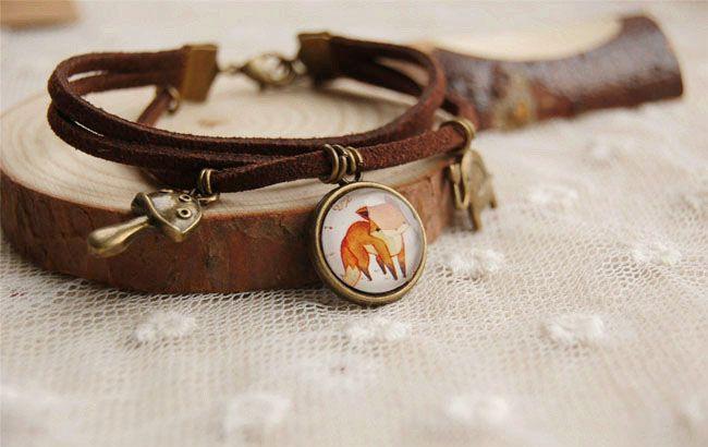 Cute Fox Pendant Bracelet Bronzed Elephant Mushroom Multilayer Bracciali in pelle Vintage gioielli fatti a mano sl010