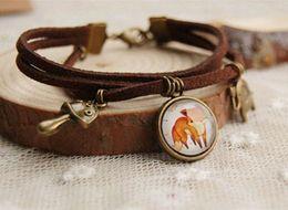 $enCountryForm.capitalKeyWord Canada - Cute Fox Pendant Bracelet Bronzed Elephant Mushroom Multilayer Leather Bracelets Vintage Jewelry Handmade sl010