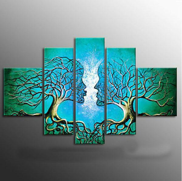 100% El Yapımı yağlıboya tuval ağacı öpücük Kırmızı Mavi Sarı soyut Modern 5 panel set büyük duvar sanat ucuz ev dekor CX501