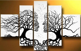 Wholesale Kissing Paintings - free shipping,handmade oil painting on canvas tree kiss black white abstract Modern 5panel set large wall art cheap home decor,CX038