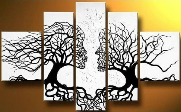 free shipping,handmade oil painting on canvas tree kiss black white abstract Modern 5panel set large wall art cheap home decor,CX505