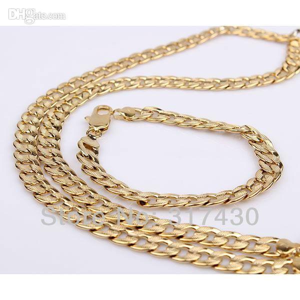 Fashion New 14K Yellow Gold Filled Collana uomo / braccialetto Set Single Curb Chain GF Sets 62g
