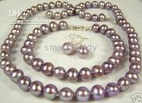 lila perlensets großhandel-Feine 8-9mm natürliche Muskateller lila Trauben Perlenkette Armband Ohrringe Set