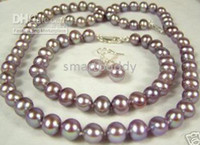 Wholesale Earring Grape Silver - Fine AA+ 8-9mm Natural Muscatel grapes Pearl Necklace Bracelet Earrings Set
