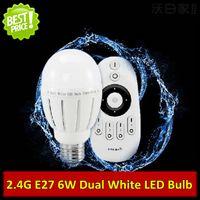 Wholesale Dual Brightness - 10PCS X 2.4G Dual White E27 6W Intelligent LED Bulb Color Temperature and Brightness Adjustable 110V 220V AC 2700-6500K Warm White + White