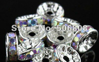 Wholesale Rhinestone Crystal Spacers - 10MM Rhinestone Rondelle Spacer Beads, Silver Plated With Crystal AB & Rainbow Spacers, DIY Basketball Wives Earrings 100PCS LOT