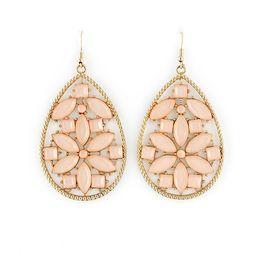 Wholesale Pink Gemstones Earrings - Fashion Jewelry Elegant Gold Filled Alloy Pink Big Imitation Gemstone Dangle Earrings for Women