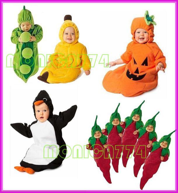 Hot Sale! Drop Shipping Gratis Ship! Retail Lovely Babies Pea / Banan / Penguin / Chili / Pumpa sovsäck Magic Sleep Bags Fleece Spant, ett lager