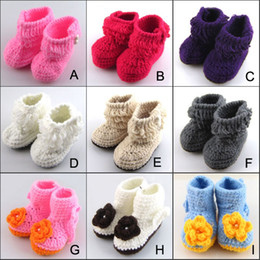 Wholesale Kids Knitted Boots - Baby crochet shoes baby boots infant handmade first walkers kids knit boots children birthday gift