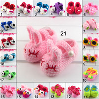Wholesale Pink Baby Crochet Shoes - Many styles Baby Girls Flower Crochet Shoes Handmade Cotton Thread Baby Toddler Shoes Knitting Infant Shoes