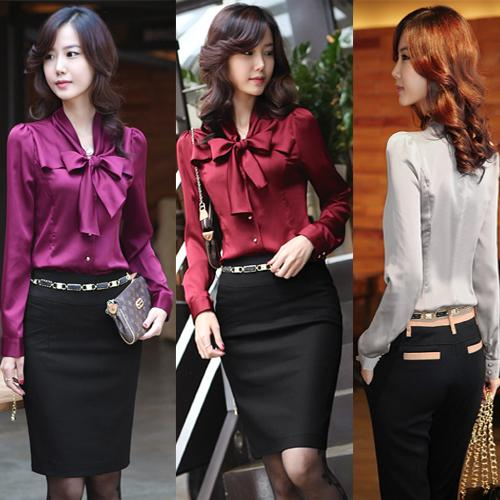 See larger image - 2017 Elegant Ladies Silk Blouses Shirt Bow Knot Neck Long Sleeve