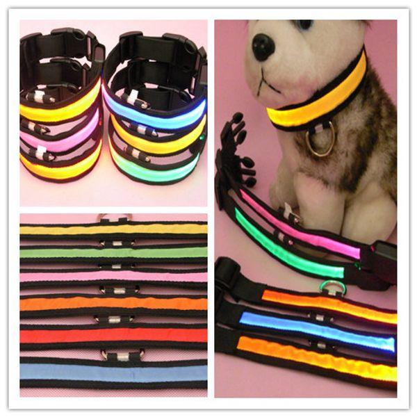 top popular Dog Pet Dog Collar Pet Glow Flashing LED Collar Necklace night visible black Webbing Leashes Adjustable 2019