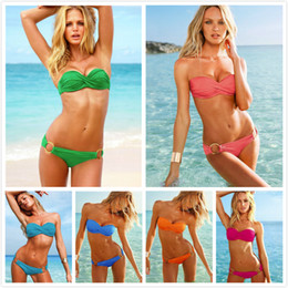 Wholesale 2014 Bulk Cheap Hot Sexy Women Bikini Set Padded Swimwear with Rings Halter Ruffled Beach Wear Swimsuits Girls Bathing suit