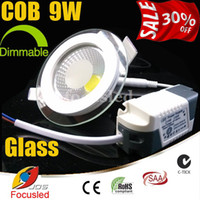 Wholesale Halogen Downlights - 30% off-COB 9W 900LM 4inch LED Downlights Glass Surface+Power Driver Fixture Recessed Ceiling Down Lights Dimmable Non Equal to 90W Halogen