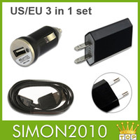 Wholesale Wall Charger Sync Galaxy S3 - 3 in 1 Charger For Samsung Galaxy S5 S4 S3 S III i9600 i9500 i9300 Car Charger AC Home Wall Adapter + Data Sync Cable Micro USB