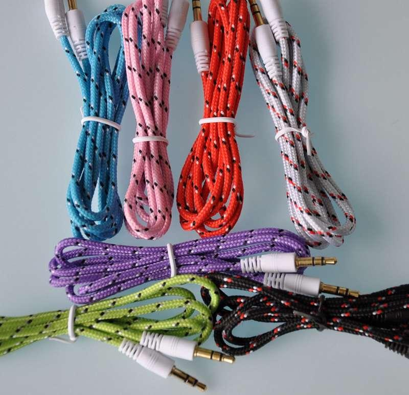Auto Cable 35mm Stereo Audio Aux Cable Braided Woven Fabric