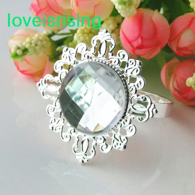 pick--high quality Clear White Gem Napkin Ring Napkin holder Wedding Bridal Shower Favor Wedding Party Decor