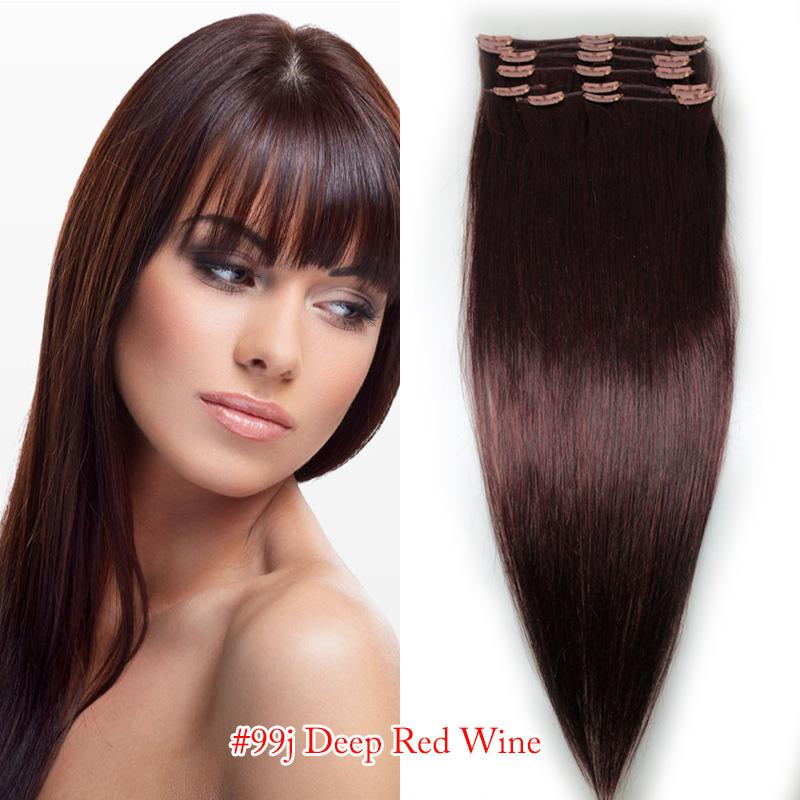 Hair Extensions Human Remy Hair Indian 8 Head Clips Inon 18 Inch