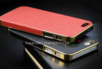 Wholesale Deluxe Iphone 5c Case - Deluxe Leather + Metal Electroplating Hard PC Case Cover Skin Shell Frame For iphone 4 4S iphone 5 5S 5C With sliver gold side 10pcs Lot