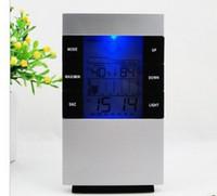 светодиодный гигрометр оптовых-Новый цифровой синий светодиод подсветки температуры влажность метр термометр гигрометр часы 3210