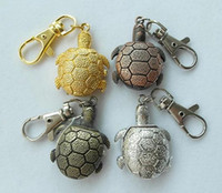 Wholesale Free Animal Stationary - 4pcs lot mix different colors turtle watches Necklace Keychain Pocket Watch Ladybug ladies Pendant Watch free & Drop shipping