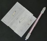 usar maquina de maquillaje permanente al por mayor-Se enviaron 20Pcs Cuchillas 14 tamaño + 1Pc Manual Cosmético Tatuaje Ceja Rosa Manual Máquina de la pluma para el maquillaje permanente Ambos lados se utilizarán