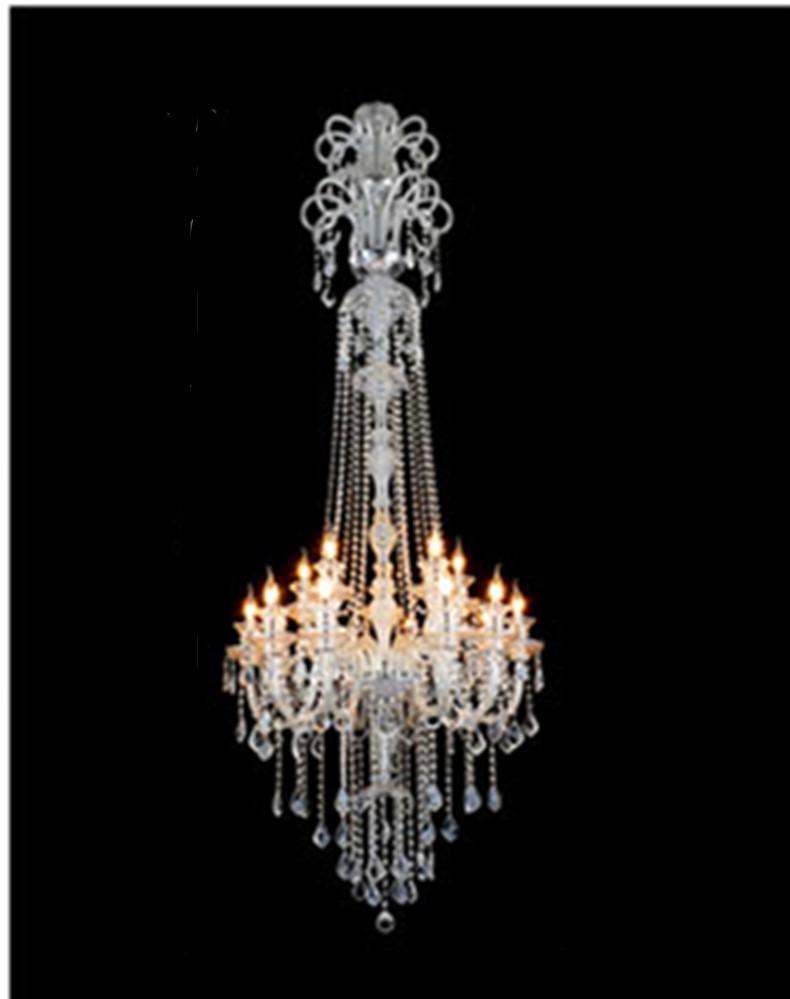 Big crystal chandelier hanging lights led lamps 15 glass arms h21m big crystal chandelier hanging lights led lamps 15 glass arms h21m large long chandeliers candleholder luxury villa hotel big hanging light large luxury arubaitofo Images