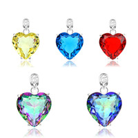 Wholesale Ladies Necklaces Free Shipping - Free Shipping 925 silver fashion jewelry Multicolor heart crystal statement jewelry sets Necklace pendants Chains for Lady Z001