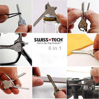 Wholesale Swiss Tech Tools Wholesale - Hot sale Swiss Tech Tools Utili Key Pocket Knife 6 in 1 Multi tool keychain Folding Knife K07480