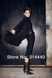Wholesale Catsuit Black Xxl - RQ-BL 100% polyester Women's Steampunk Costumes Steampunk ruffles coat sp020