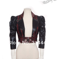 Wholesale Sexy Leather Jackets Fur - RQ-BL Women Steampunk Sexy Short Leather Jacket sp053