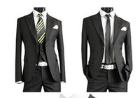 Wholesale white linen suit 56 for sale - New Handsome Complete Designer Black Tuxedo Bridegroom jacket Pant Vest Tie ST010