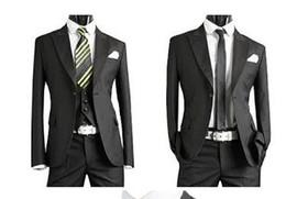 New desigNer tuxedo online shopping - New Handsome Complete Designer Black Tuxedo Bridegroom jacket Pant Vest Tie ST010