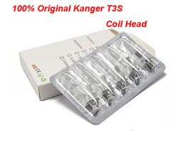 Wholesale T3s Clearomizer Wholesale - 5pcs Pack Original Kanger T3S Coil head 100% kangertech Atomizer Core for T3S MT3S CC Clear Cartomizer Replaceable Coil unitank Clearomizer