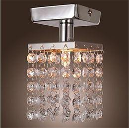 Wholesale Crystal Chrome Ceiling Lights - New Arrival Modern Chandeliers Ceiling Lamp Crystal Chandeliers Mini Semi Flush Mount in Crystal Chandelier Entrance Hallway Light Chrome