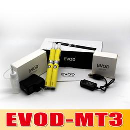 Wholesale Evod Set Box - Best Sale !!! EVOD MT3 Double Set Electronic Cigarette Ego Double kits EVOD Battery Variable Voltage MT3 Clearomizer Hard Box goodwillbiz