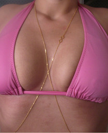 Wholesale Gold Cheap Body Chain - 8%off!high quality!2014 new arrivals!Charm Sexy Gold Metal Nightclub Crystal 8 Infinity Body Chain!DROP SHIPPING!hot sale!cheap!12pcs.YY