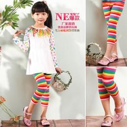 Wholesale Red Stripe Leggings - Nova 3y-9y baby girls leggings kids tights cotton stretch rainbow stripes leggings children casual pants toddler trousers 6pcs lot