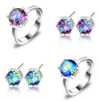 Wholesale Sterling Silver Rings Bracelets Mix - New Arrive Fashion 65ct bridal accessories Colorful Crystal jewelry Rings & Earrings for lovers' jewelry sets Free Shipping Z0001