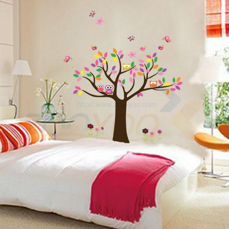 Tree Sticker Wall Decor beautiful colorfull tree for home decor wall decal zooyoo5084