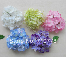 small wedding flower bouquets Canada - 6Colors 11cm artificial small hydrangea flower head diy wedding decorations bouquet Silk flowers head wreath garland home decoration