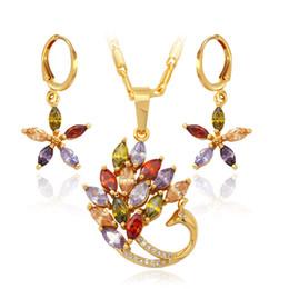 2019 phoenix jóia de ouro New Luxury Zircon Set Jóias Por Atacado Na Moda 18 K Banhado A Ouro Phoenix Animais Colar Brincos Conjuntos de Jóias Para As Mulheres YS254 desconto phoenix jóia de ouro