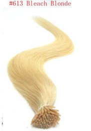 "i tip blonde human hair Canada - wholesale 200s pack 1g s 14''- 24"" Keratin Stick I Tip Human Hair Extensions Peruvian hair 613# pleach blonde dhl Fast shipping"