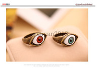 Wholesale Evil Eye Bronze - Fashion Punk Style Vampire Devil Evil Realistic Red And Blue Eyes Styling Ring Retro Bronze Punk Evil Blue Brown Eye Finger Ring