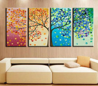 Wholesale handmade wall decor painting online - Abstract Life Tree Oil Painting on canvas Beautiful Life handmade High Quality Home Office Hotel wall art decor decoration New
