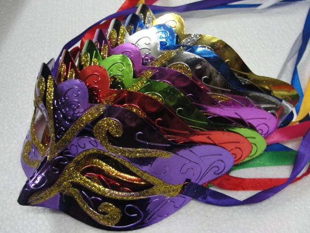 2016 nuovo mix di moda ordine 30 pz promozione festa di vendita maschera di saldatura oro moda travestimento veneziano colorato